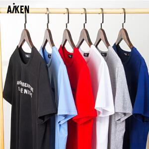Aiken短袖T恤男生2017夏季学生红色半袖黑字母简约百搭体恤青年潮
