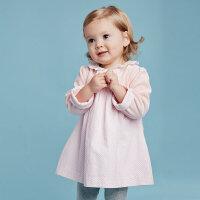 davebella戴维贝拉女童宝宝秋装新款娃娃领长袖连衣裙