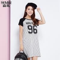 森马连衣裙 夏装 女士休闲条纹字母印花直筒短袖韩版裙子
