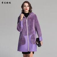冬季新款两面穿皮草外套羊剪绒内胆中长款连帽皮毛一体女装