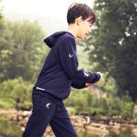 探路者童装 春季新款男童撞色连帽运动针织连帽外套/长裤套装