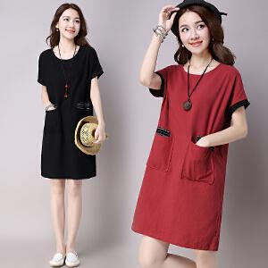 【当当年中庆】夏装新款大码棉麻连衣裙 宽松口袋纯色圆领中长裙女