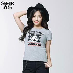 森马短袖T恤 夏装 女士圆领字母Mickey米老鼠印花t韩版潮