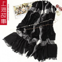 上海故事韩国女百变纯色长披肩夏冬两用超大新款时尚加厚羊毛围巾