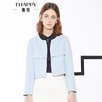 【8.9上新】海贝春款纯色圆领外套 时尚短款宽松上衣外套女春春