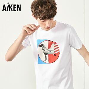 Aiken短袖T恤男士2017夏新款修身圆领体恤男潮牌个性街头半袖上衣