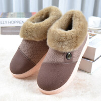 棉拖鞋包跟加厚底女居家防滑保暖冬季棉鞋男士冬天室内防水皮拖鞋 42/43适合40-41的脚