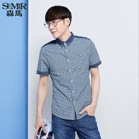 森马短袖衬衫 夏装 男士方领格子拼接男装衬衣韩版