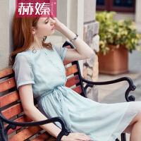 【赫��】2017夏款新品高档女装纯色圆领A字裙时尚百搭淑女连衣裙H6706