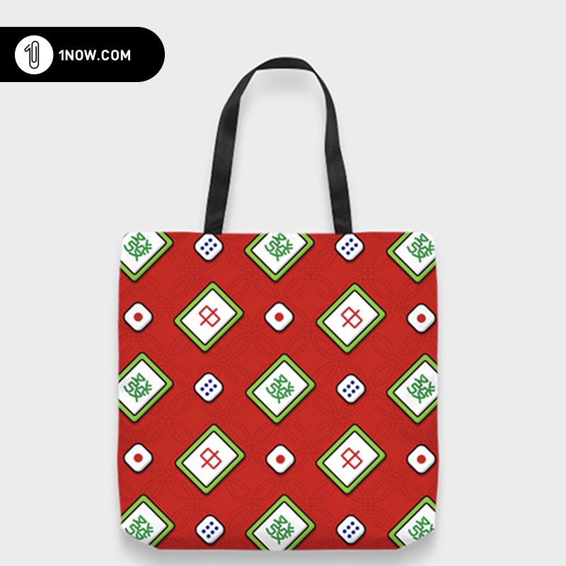 「玩闹智造」手绘插画 i love mahjong个性帆布tote包环保袋包邮