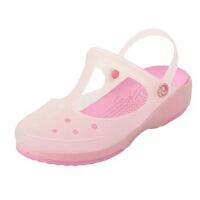 潮路思夏季变色鞋洞洞鞋果冻鞋女士凉拖鞋沙滩鞋平跟鞋花园鞋夏包头鞋CLS-010 粉红色