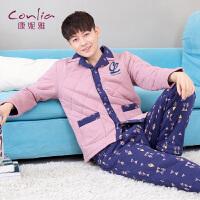 康妮雅冬季新款家居服 男士休闲简约夹棉加厚睡衣套装