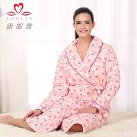 康妮雅冬季新款家居服浴袍 女士甜美花朵图长袖夹棉睡袍