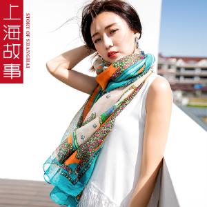 上海故事丝巾春秋季围巾女桑蚕丝时尚丝巾百搭真丝披肩两用夏季空调围巾