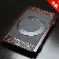 思故轩茶具 四合一茶海托黑金石茶台整块乌金石结合黑檀实木茶盘CP2715