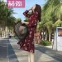 【赫��】2017夏装新款女装复古印花雪纺蝴蝶结连衣裙长袖显瘦荷叶边中长裙H6681