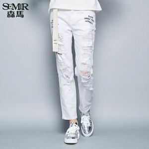 森马牛仔裤 秋装女士中低腰直筒印花破洞牛仔长裤韩版潮