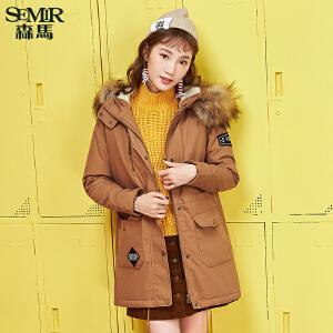 森马棉服 冬装 女士韩版连帽字母绣章加绒宽松中长款外套
