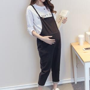 百伶妈妈 孕妇裤春秋新款背带裤时尚休闲孕妇装春装托腹裤S122
