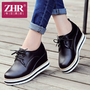 ZHR2017春季新款英伦复古学院风增高厚底鞋真皮女鞋休闲时尚坡跟女鞋H83