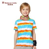 探路者TOREAD品牌童装 户外运动 夏装男童印花系列圆领儿童短袖T恤