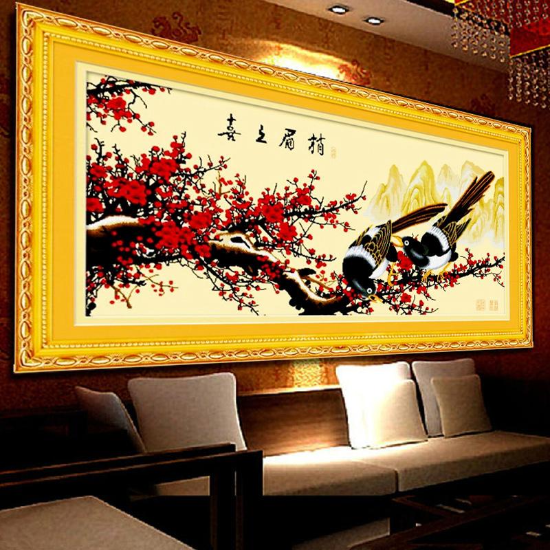 精准印花十字绣 喜上眉梢新款客厅大幅喜鹊报喜梅花