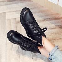 彼艾2016秋冬季新款韩版平底女短靴厚底内增高女鞋系带马丁靴学生女靴子