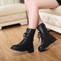 彼艾2016秋冬欧美英伦马丁靴女靴子厚底马蹄跟机车女靴子短靴情侣靴