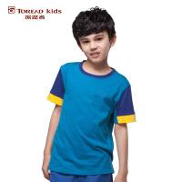 探路者TOREAD品牌童装 户外运动  夏装男童户外拼色运动儿童短袖T恤