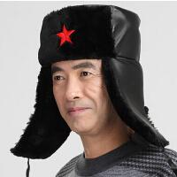 中老年人帽防风老头帽 雷锋帽男士冬天保暖棉帽加厚皮帽户外抓绒帽