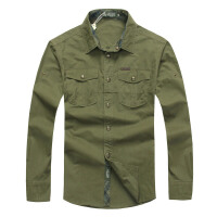 战地吉普AFS JEEP男士长袖衬衫 秋冬新款水洗长袖衬衣 户外休闲纯色宽松大码男装