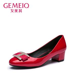 戈美其新款浅口圆头甜美女鞋中跟粗跟蝴蝶结单鞋女百搭