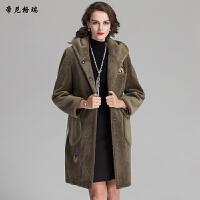 冬季新款女装时尚大衣中长款抗寒保暖羊剪绒连帽皮草外套