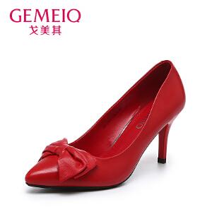 戈美其秋季尖头浅口细跟女鞋蝴蝶结单鞋女红色性感高跟鞋