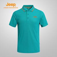 【全场2.5折起】Jeep/吉普 男士短袖T透气舒适速干polo衫翻领休闲J631107014