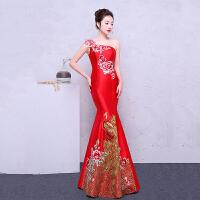 长款晚礼服鱼尾复古刺绣新娘敬酒服红色修身宴会女主持中式旗袍