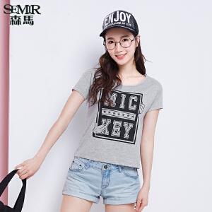 森马短袖T恤 夏装 女士迪士尼Mickey米老鼠印花宽松t恤女