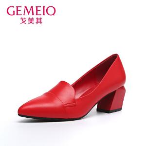 戈美其秋季高跟尖头鞋子女单鞋 时尚优雅方根职业工作鞋