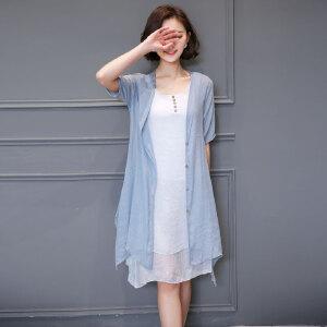 【当当年中庆】波柏龙 夏季新款棉麻女两件套披肩连衣裙两件套