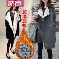 【赫��】2016新款韩范女装毛呢外套冬季大码冬款呢子外套中长款呢子H6527
