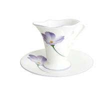 YAMI紫韵花对杯 高档陶瓷杯子 花式咖啡杯碟 简约时尚套装 180ml