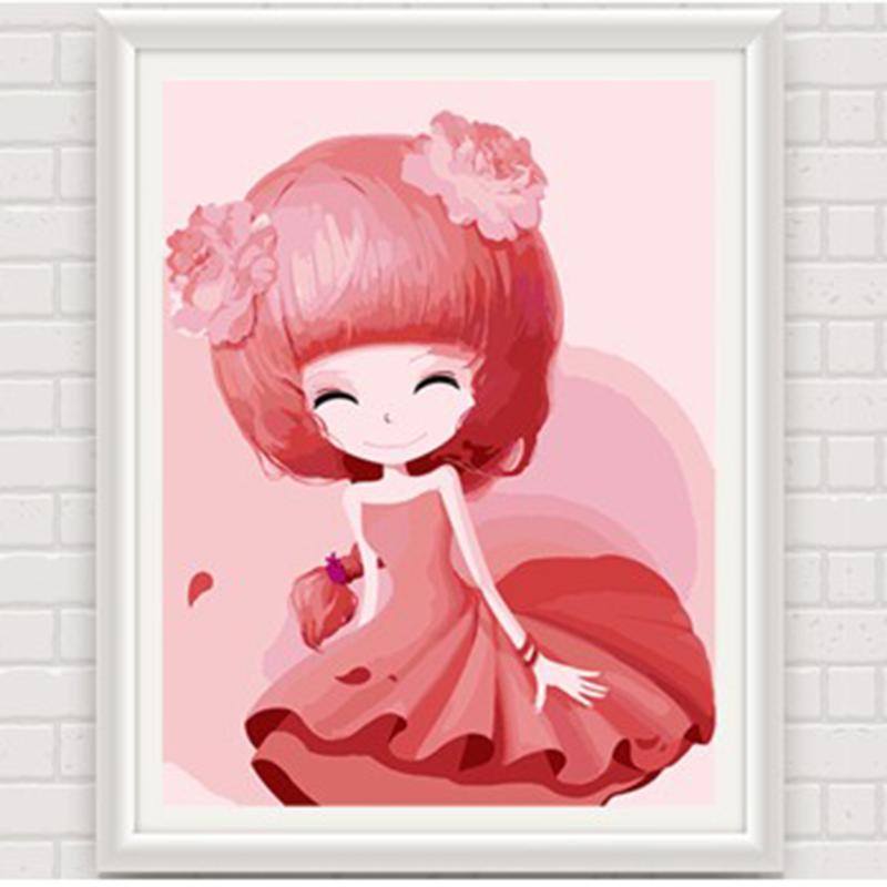 数字油画 动漫卡通人物少女手绘装饰画 儿童可爱卧室 花花姑娘_蔷薇姑