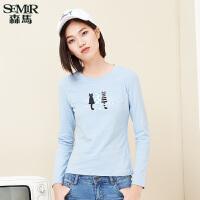 森马长袖T恤 2017春装新款 女士可爱猫咪印花合体纯棉长袖T恤韩版