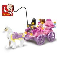 全店满99包邮!小鲁班拼装积木 女孩组装皇家马车模型启蒙拼装玩具益智积木车