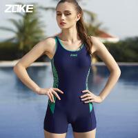 ZOKE女泳衣连体平角保守修身温泉小胸聚拢遮肚显瘦大码运动游泳装