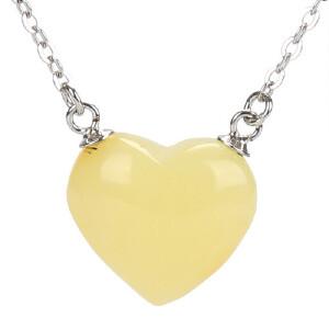 戴和美珠宝首饰 项链S925银天然琥珀蜜蜡项链