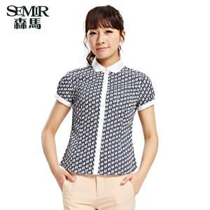 森马夏装新款短袖衬衫韩版女装翻领 棉衬衫女士印花动物衬衫