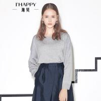 【海贝超级品牌日 买三免一再满减】海贝2017年春季女 舒适圆领宽松长袖纯色套头针织衫