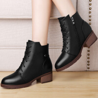 莫蕾蔻蕾女靴 秋冬新款英伦粗跟短靴系带马丁靴女高跟短筒靴子 6Q508