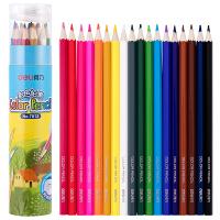 【满200-100】得力6660/6661/6662 塑料彩色铅笔 多色可选 无铅毒环保彩铅 桶装